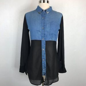 The Hanger Chambray Sheer Button Up Top